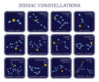 Set of zodiac constellations in square frames royalty free stock photography