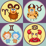 Set zodiac sign cartoon, Aries, Taurus, Gemini, Cancer. Painted funny astrological characters and symbols in a round frame multico Stock Image