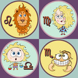 Set zodiac sign cartoon, Leo, Virgo, Libra, Scorpio. Painted funny astrological characters and symbols in a round frame multicolor Royalty Free Stock Photography
