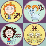 Set zodiac sign cartoon, Sagittarius, Capricorn, Aquarius, Pisces. Painted funny astrological characters and symbols in a round fr Royalty Free Stock Photos