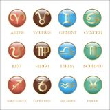 Set zodiac sign in circle frame Stock Image