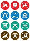 Set Of Zodiac Signs. A set of silhouette images of twelve zodiac signs broken down into the elements of fire, earth, air, and water Stock Image