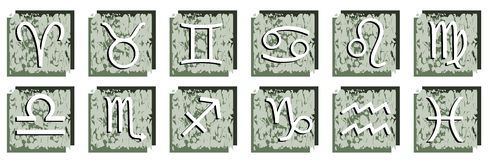 Set of Zodiac signs on abstract background. Illustration representing the twelve zodiac sings that can be used as icons Stock Photography