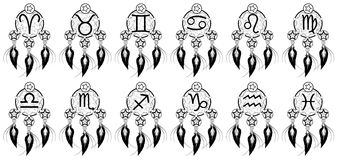 Set of Zodiac signs on banishes thoughts. Illustration representing the twelve zodiac sings as tribal tattoo Royalty Free Stock Images