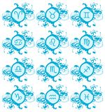 Set of Zodiac signs on blue decoration isolated Stock Images