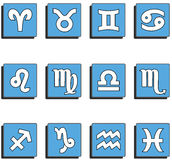 Zodiac signs. Set of zodiac signs buttons Royalty Free Stock Image