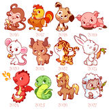 Set of zodiac signs in cartoon style. Chinese zodiac. Stock Photography