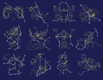 Set with zodiac signs and constellations Royalty Free Stock Images