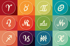 Set of zodiac signs in flat design with long shadow Stock Photos