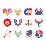 Set of 12 Zodiac Signs Stock Image