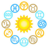 Set of zodiac signs located around the sun Royalty Free Stock Image