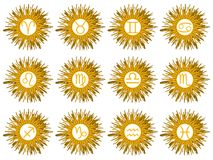 Set of Zodiac signs on sun isolated royalty free illustration
