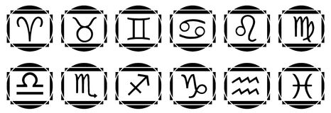 Set of Zodiac signs tattoo  in black Stock Images