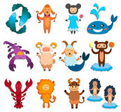 Set of zodiac signs. Royalty Free Stock Photos