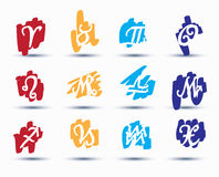 Set of zodiac signs Royalty Free Stock Photos