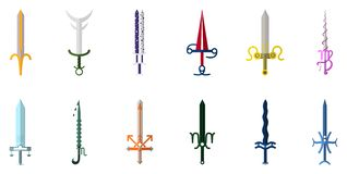 Set of 12 Zodiac Swords isolated on white background. Zodiacal Weapon Collection. Zodiac Sign. Flat Cartoon Zodiacal Weapon. Astrological, Horoscope Sign stock illustration