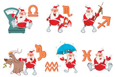 Set of Zodiac symbols with Cute Santa Claus Royalty Free Stock Photo
