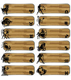 Set zodiac wood banner Royalty Free Stock Image