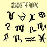 Set of zodiacs signs painted by hand.  Grunge collection. Set of zodiacs signs painted by hand.  Astrology grunge collection Royalty Free Stock Image