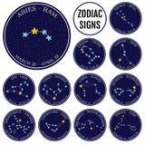Set zodiaków gwiazdozbiory w przestrzeni Śliczny kreskówka stylu wektor Obrazy Royalty Free
