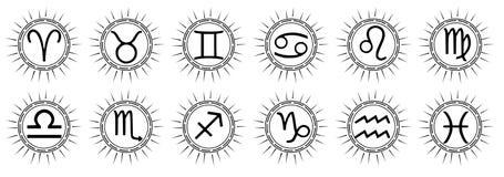 Set zodiaków znaków tatuaż w czerni Zdjęcia Royalty Free