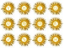 Set zodiaków znaki na słońcu odizolowywającym Zdjęcia Royalty Free