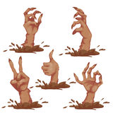 Set of zombie hands for Halloween Party. Vector Stock Images