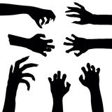 Set of zombie hands  on white background,. Illustration Royalty Free Stock Photos
