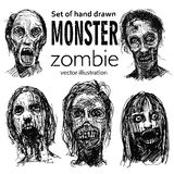 Set of zombies heads. stock illustration