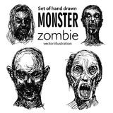 Set of zombies heads. Set of zombie head, hand drawn, face, sketch pencil line - Vector illustration isolated on white background Stock Images