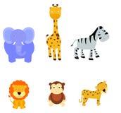 set zoo för djurteckenillustration Arkivbilder