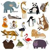 Set zoo kreskówki zwierzęta Mieszkanie stylu projekt Obrazy Royalty Free
