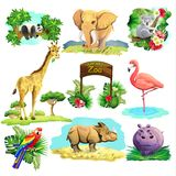 Set of zoo safari stock illustration