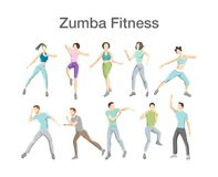 Set of zumba dancers. Group of fitness people doing exercices royalty free illustration