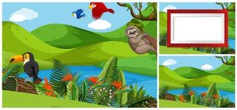 Set zwierzę w natura szablonie ilustracja wektor