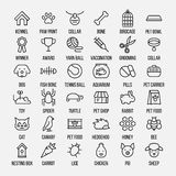 Set zwierzę domowe ikony w nowożytnym cienkim kreskowym stylu Zdjęcia Stock
