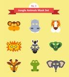 Set zwierzęce maski Set 3 Dżungli zwierzęta Zdjęcia Stock
