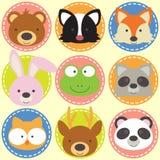 Set zwierzęce twarze Zdjęcie Stock