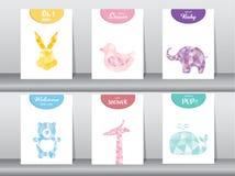 Set zwierzęcego wieloboka niski poli- na dziecko prysznic karcie, deseniowy projekt, zwierzę, plakat, szablon, powitanie, Wektoro royalty ilustracja