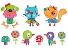 Set zwierzęta domowe, ptaki i kwiaty, Zdjęcie Stock