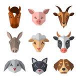 Set zwierzęta gospodarskie w niskim poli- stylu Zwierzęca ikony kolekcja fotografia stock