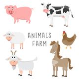 Set zwierzęta w rolnej kreskówki płaskim projekcie Fotografia Stock