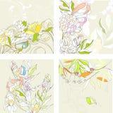 Set1 com fundo floral Foto de Stock Royalty Free
