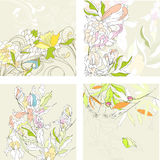 Set1 with floral background royalty free illustration