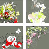 Set3 with floral background. Universal template for greeting card, web page, background Royalty Free Stock Photos
