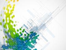 Seta abstrata da cor com os vagabundos da tecnologia e do desenvolvimento do hexágono ilustração stock
