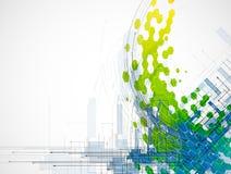 Seta abstrata da cor com os vagabundos da tecnologia e do desenvolvimento do hexágono Fotos de Stock