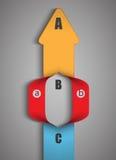 Seta acima da apresentação da etapa dos dados infographic Fotografia de Stock