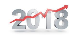 Seta acima para 2018 em uma ilustração branca do fundo 3D, rendição 3D Fotos de Stock