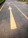 A seta amarela na estrada Imagens de Stock